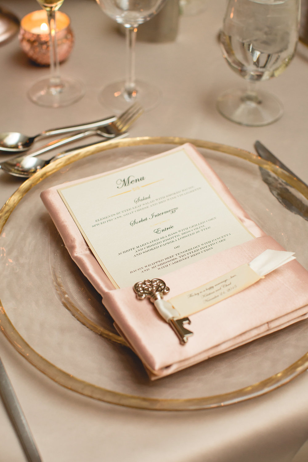 wedding menu gold blush
