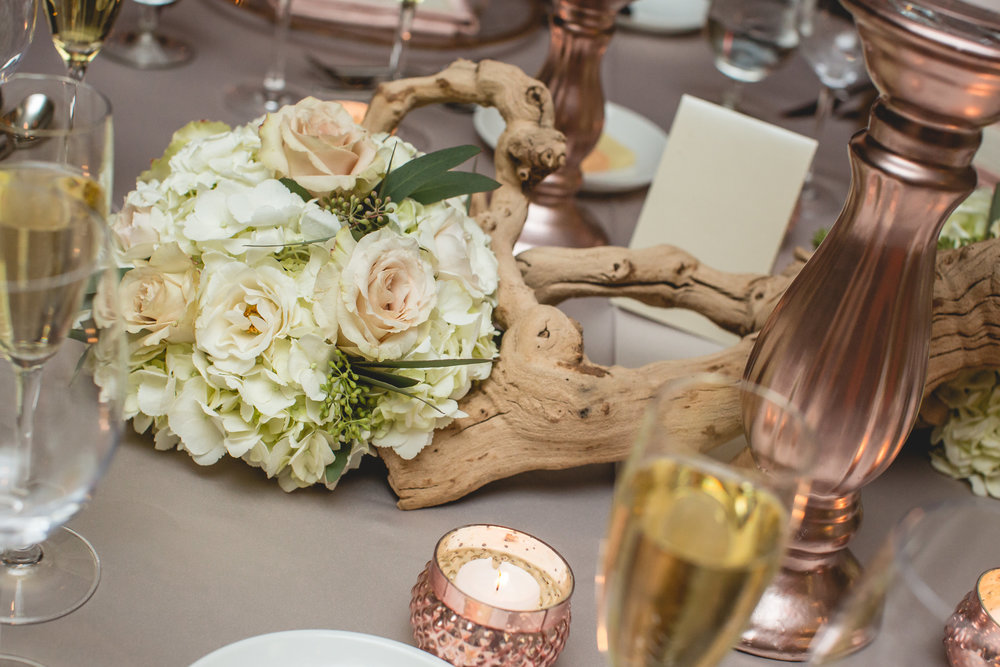 blush wood taupe wedding rose gold