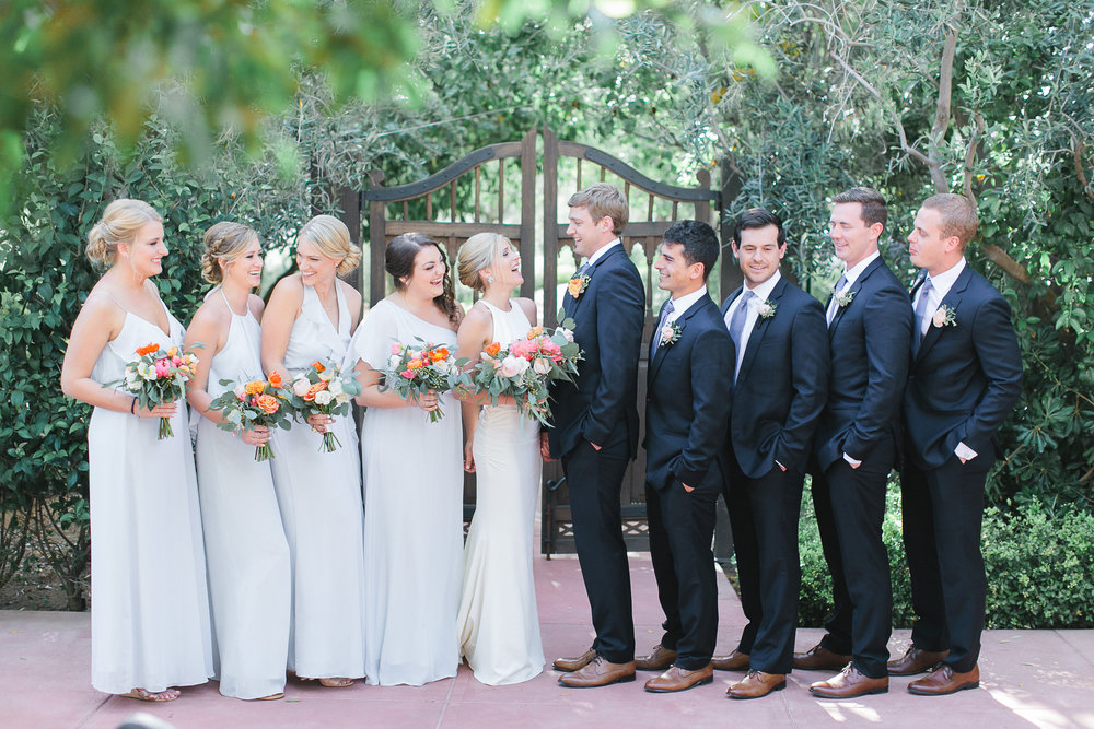 bridal party el chorro wedding scottsdale planner blue pink coral ivory peach