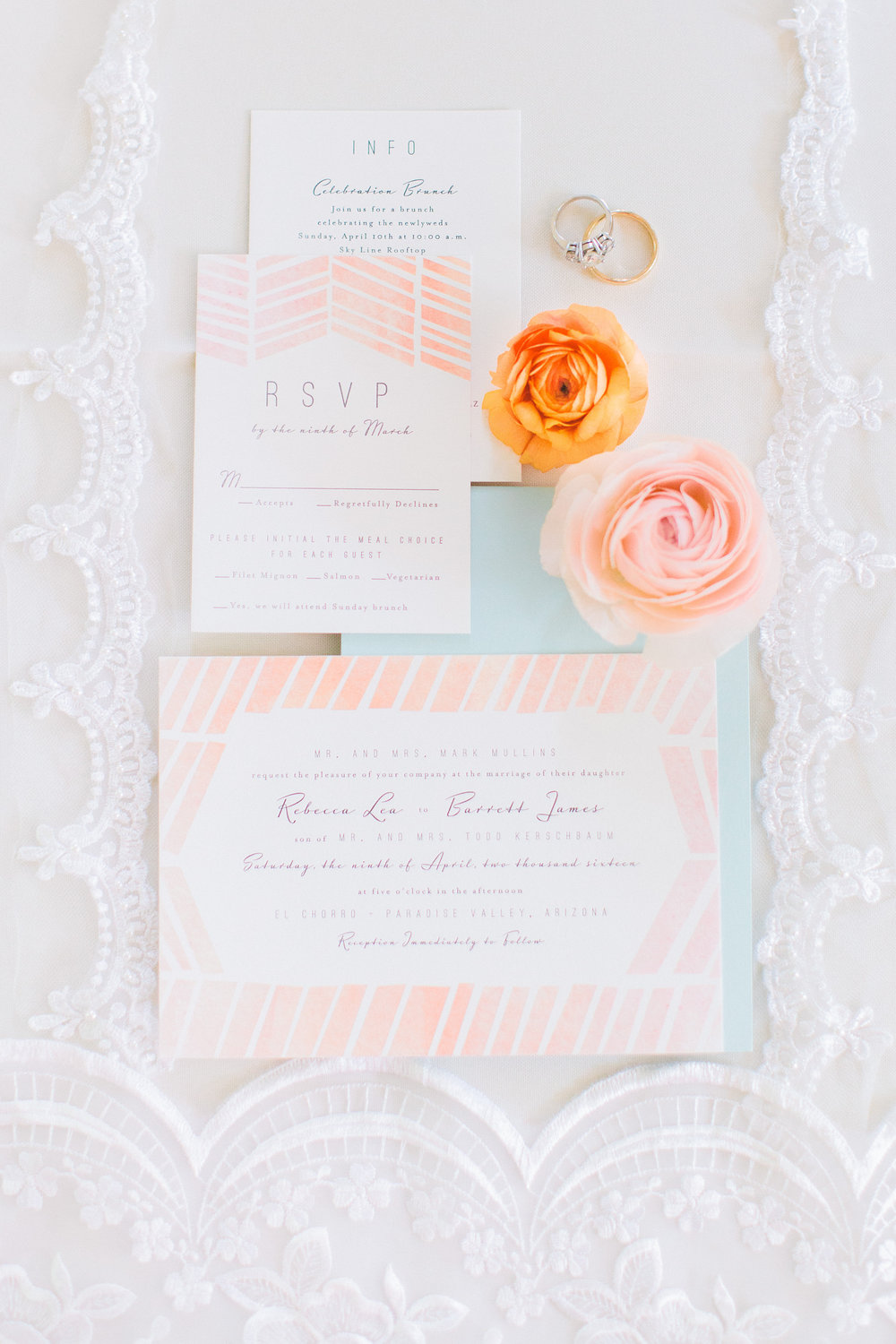 el chorro wedding scottsdale arizona wedding planner peach invitation mint