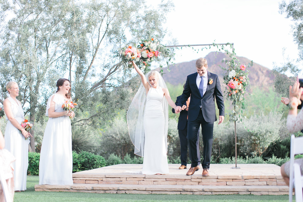 arizona wedding scottsdale el chorro pink peach coral blush planner  ceremony arch camelback