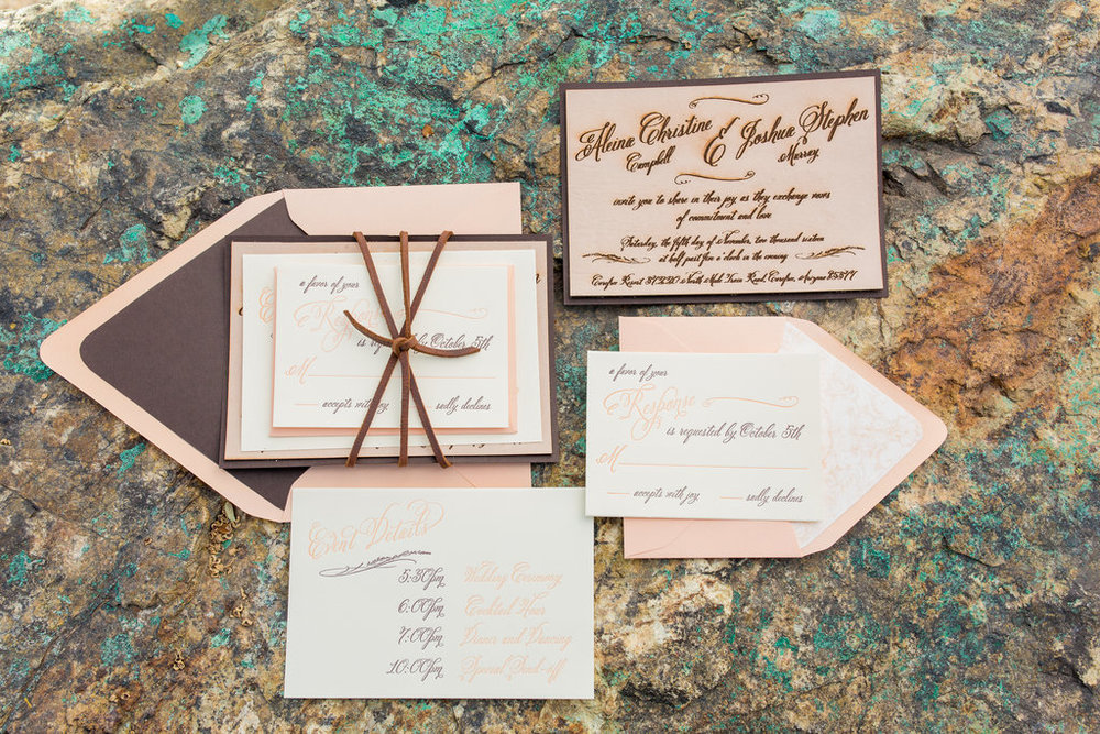 Wedding invitation, leather, elegant, beige, blush, peach, rustic, formal invitation, stationery, Phoenix Scottsdale Arizona Wedding Planner