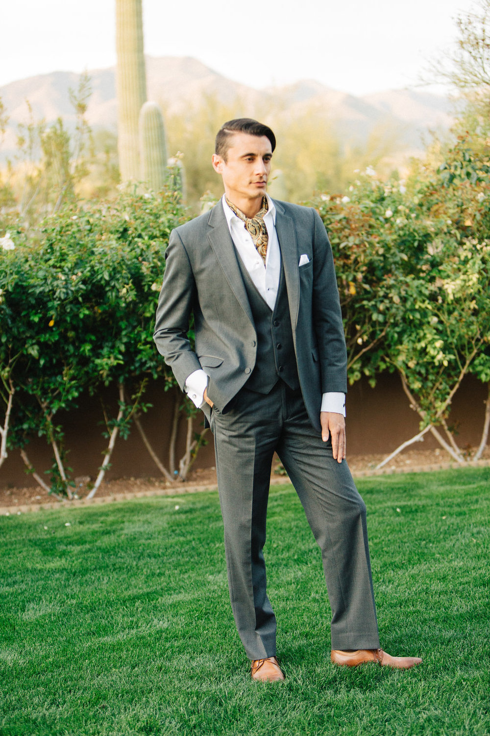 Groom, Phoenix Scottsdale Arizona Wedding Planner, Groom attire, grey suite, southwest, ascot, groomsmen attire
