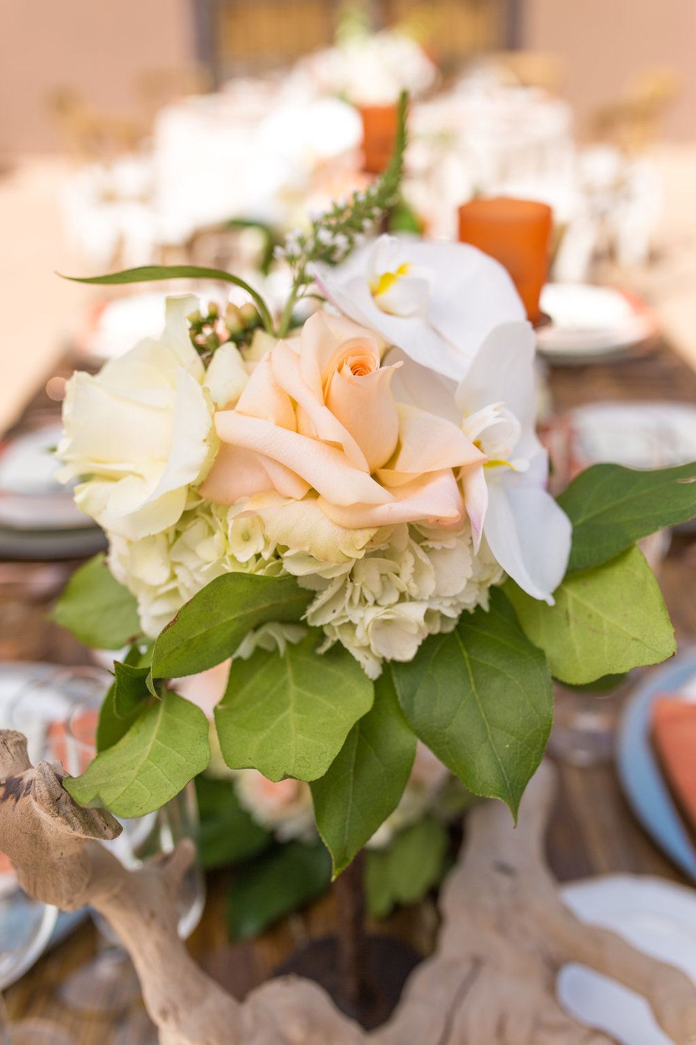 Phoenix Scottsdale Arizona Wedding Planner, Orchids, blush, peach, southwest, elegant, flowers, roses, rustic, western, wood, centerpiece, cocktail flowers