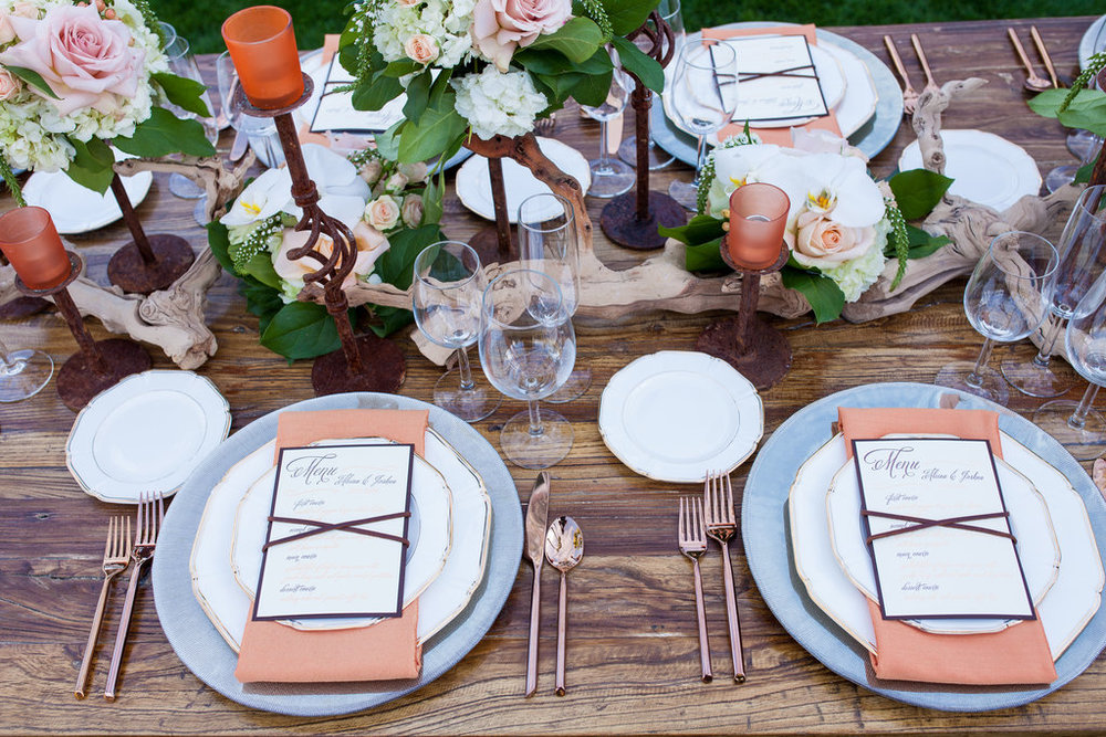 wedding reception, rose gold flatware, smoked elegance charger, china, menu, stationery, leather, peach, ivory, blush, wood, copper, centerpiece, orchids, Phoenix Scottsdale Arizona Wedding Planner