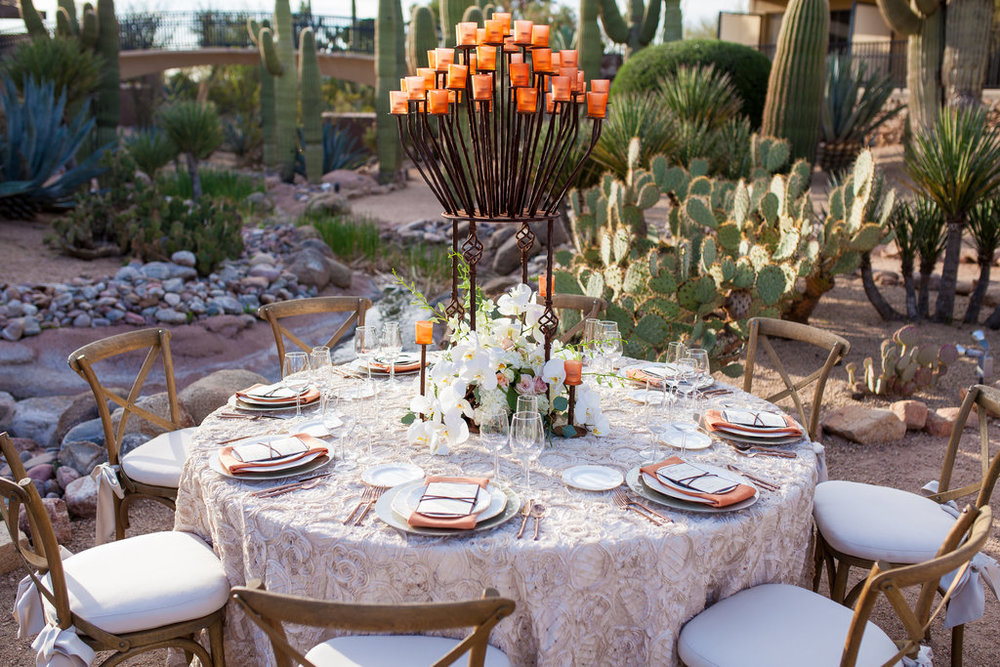 wedding reception, rose gold flatware, smoked elegance charger, china, menu, stationery, leather, peach, ivory, blush, wood, copper, centerpiece, orchids, Phoenix Scottsdale Arizona Wedding Planner, candelabra, wooden chairs, blush linen