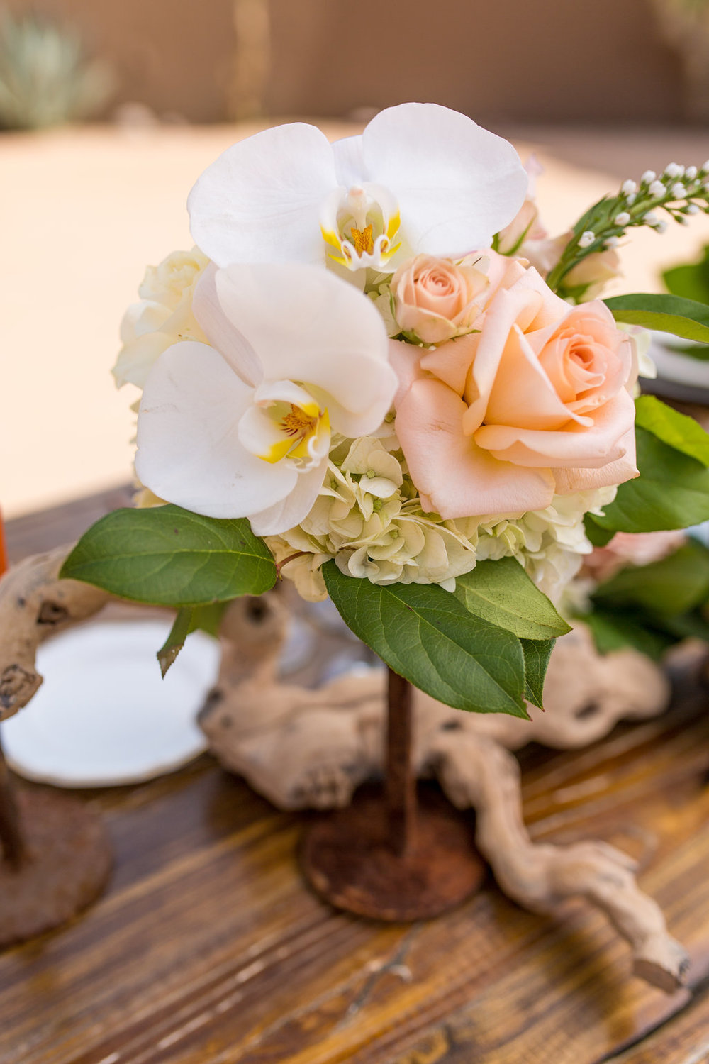 wedding reception, ivory, blush, peach, wood, copper, centerpiece, orchids, Phoenix Scottsdale Arizona Wedding Planner