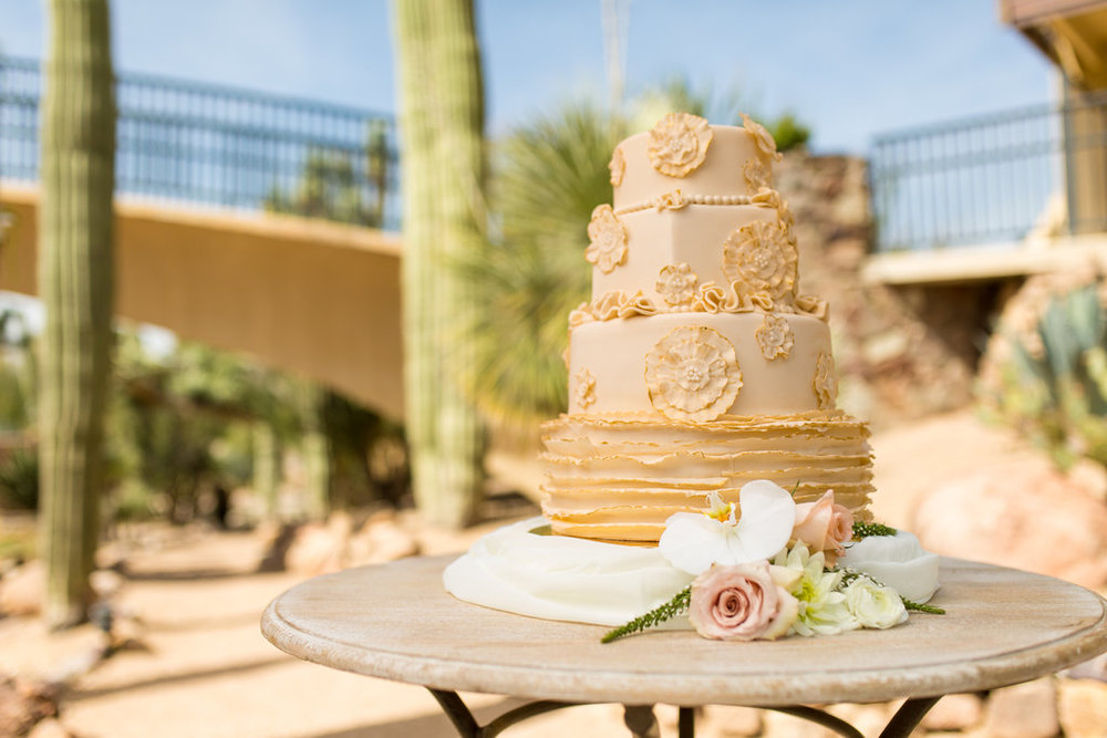wedding cake, tiered wedding cake, sugar flowers, rustic, beige, southwest, Phoenix Scottsdale Arizona Wedding Planner