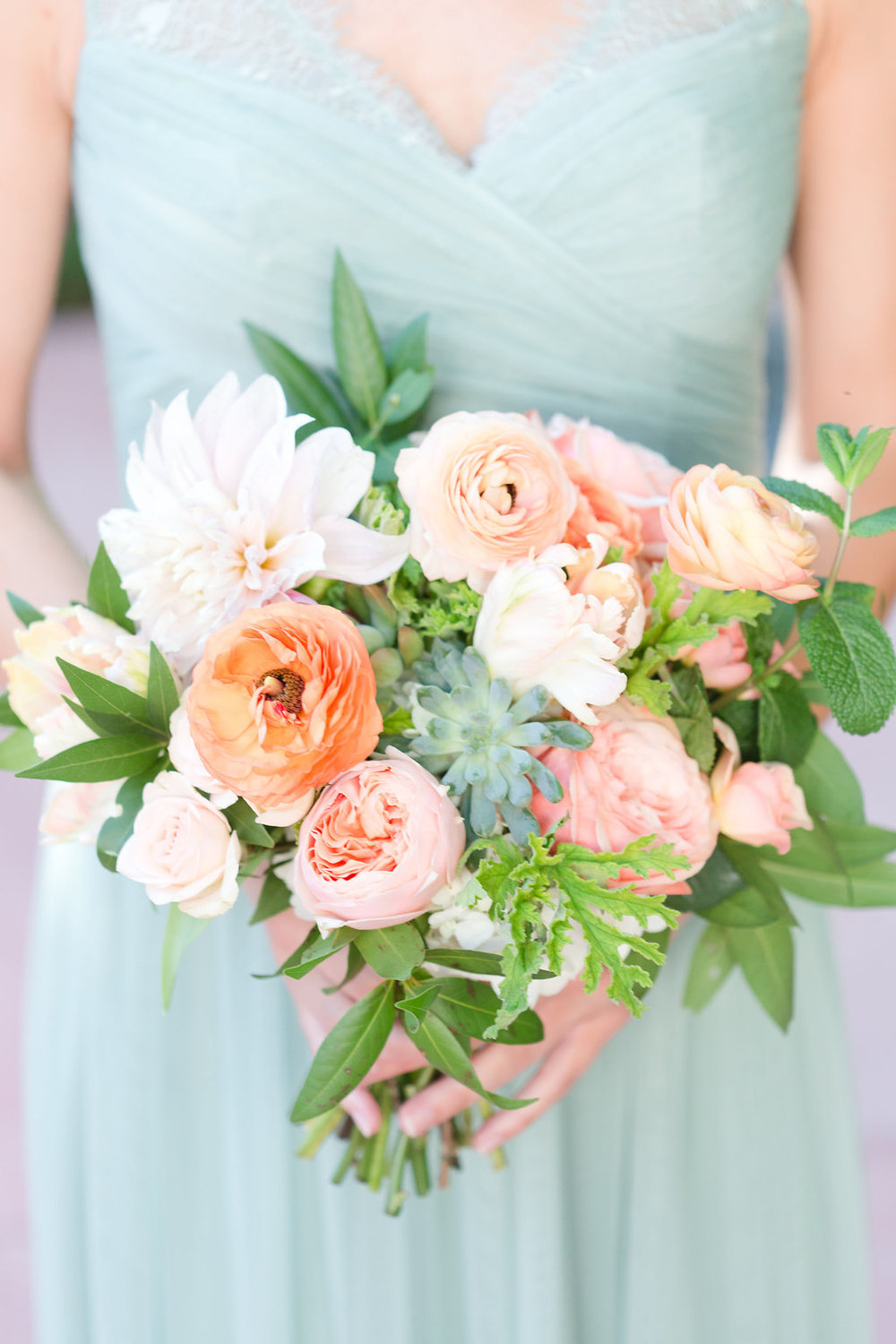 bridesmaid dress, mint green dress,  peach and mint wedding, blush and green wedding, Arizona Phoenix Scottsdale wedding planner, peach flowers, blush flowers, garden bouquet, desert wedding