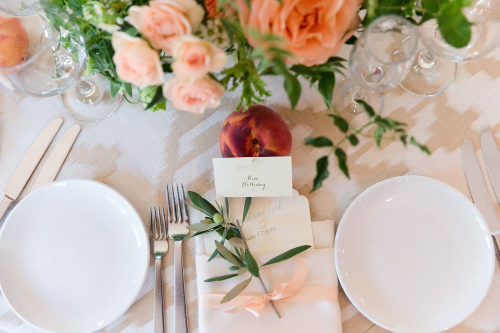 peach and mint wedding, blush and green wedding, Arizona Phoenix Scottsdale wedding planner, wedding reception, peach blush wedding flowers, peach escort card, peach place cards, wedding menu, peach and blush centerpieces, desert wedding, gold linen