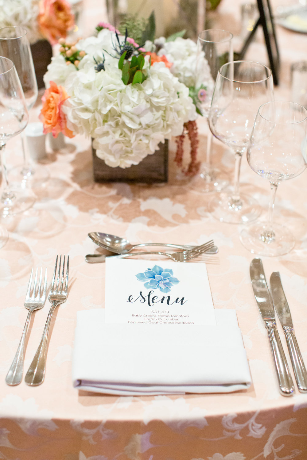 Phoenix-Scottsdale-Arizona-Wedding-Planner-Wedding-Venue-Destination-Wedding-Planner, Omni Montelucia weddings, sunset weddings, Arizona Sunset weddings, wedding details, succulent bouquets, pink orange green blue bouquets, wedding reception menu