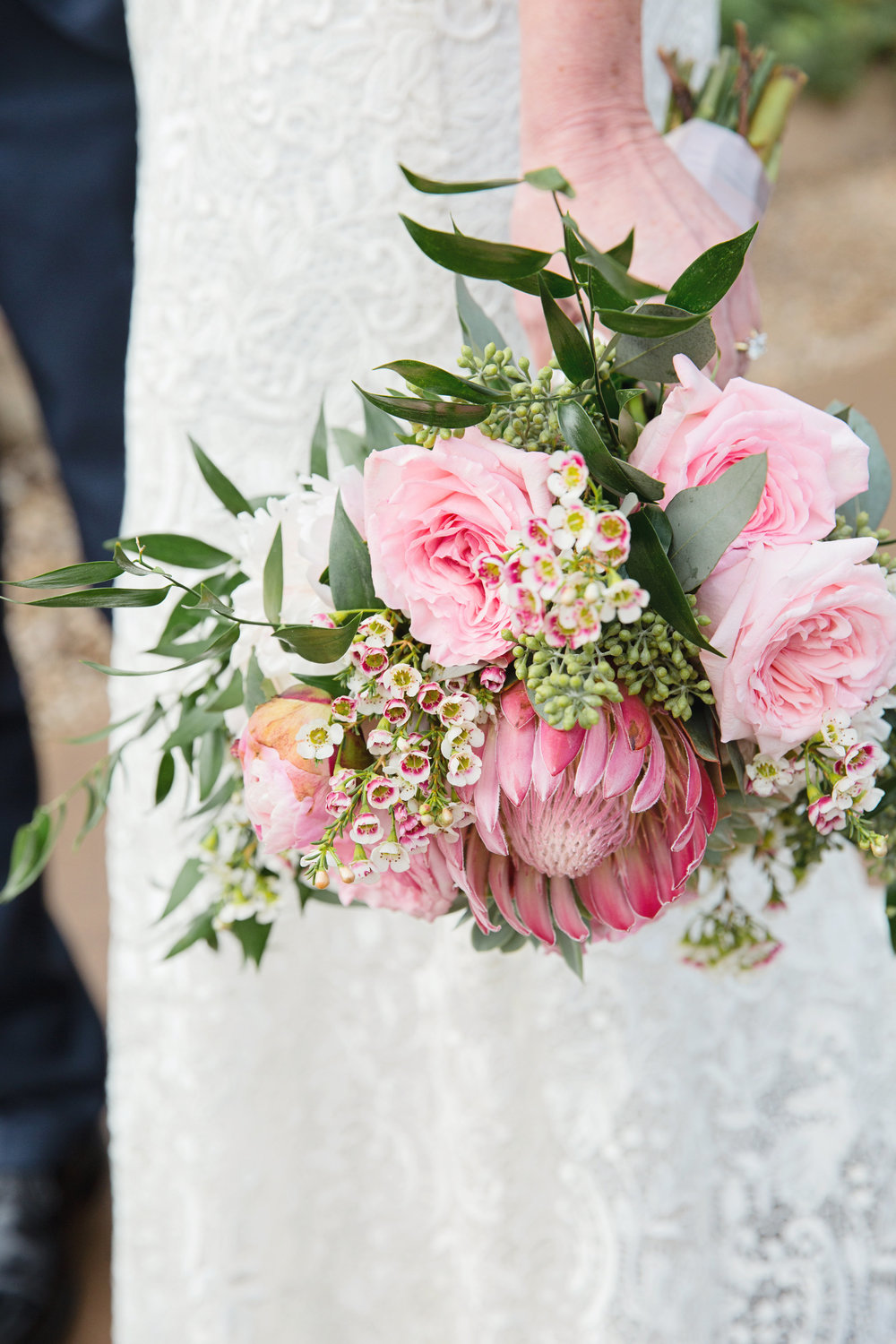 Arizona wedding, Camelback Mountain wedding, pink flowers, pink bouquet, pink wedding bouquet, protea, roses, succulents