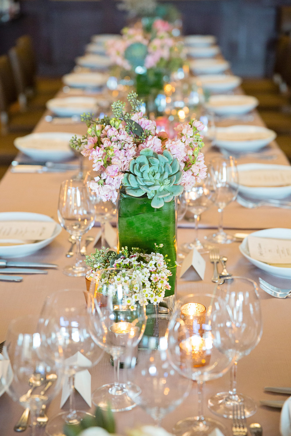 Arizona wedding, Camelback Mountain wedding, pink flowers, pink bouquet, pink wedding bouquet, protea, roses, succulents, desert inspired bridal bouquet, wedding reception table; family style table