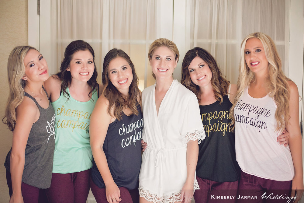 Classic, elegant wedding, white and gold wedding, bridesmaids, bridesmaid tanks, champagne campaign