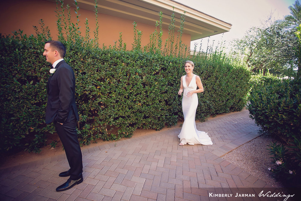 Classic, elegant wedding, white and gold wedding, bride and groom first look