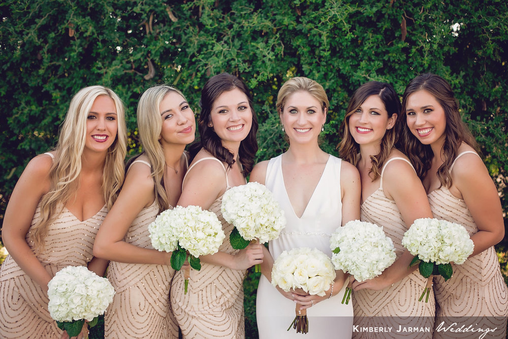 Classic, elegant wedding, white and gold wedding, bridesmaid photo, bridal bouquet, white rose bouquet, bridesmaid bouquet, white hydrangea bouquet