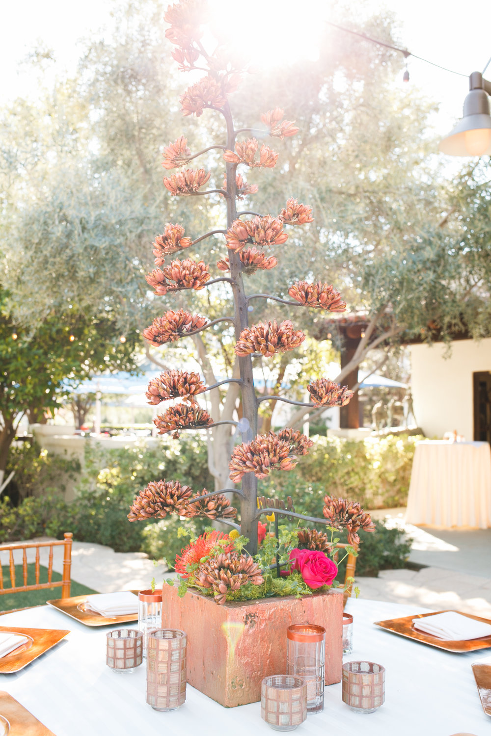 copper wedding reception decor desert wedding agave el chorro arizona wedding planner