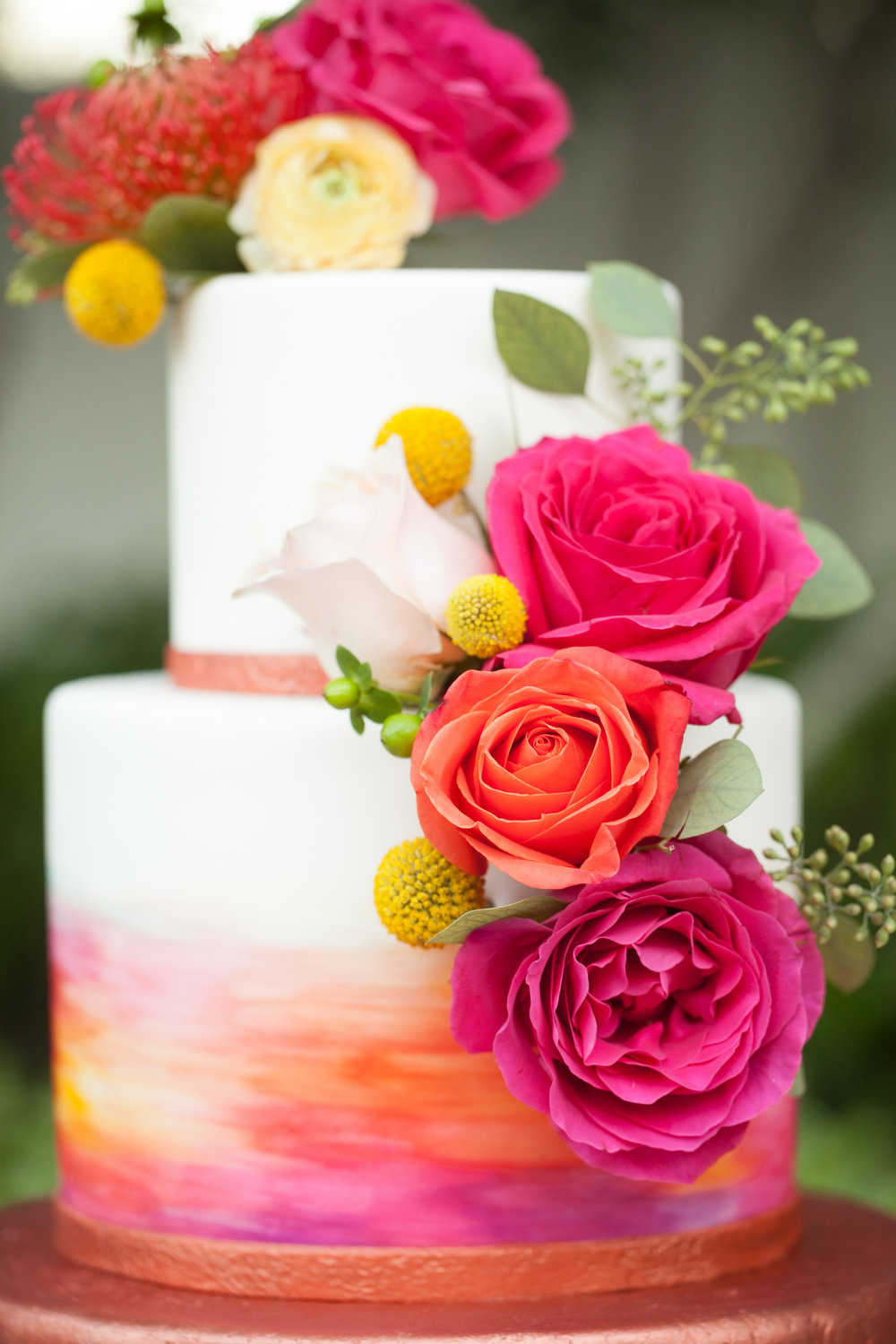 water color wedding cake copper wedding cake desert wedding el chorro wedding wedding planner heartsweet cakes