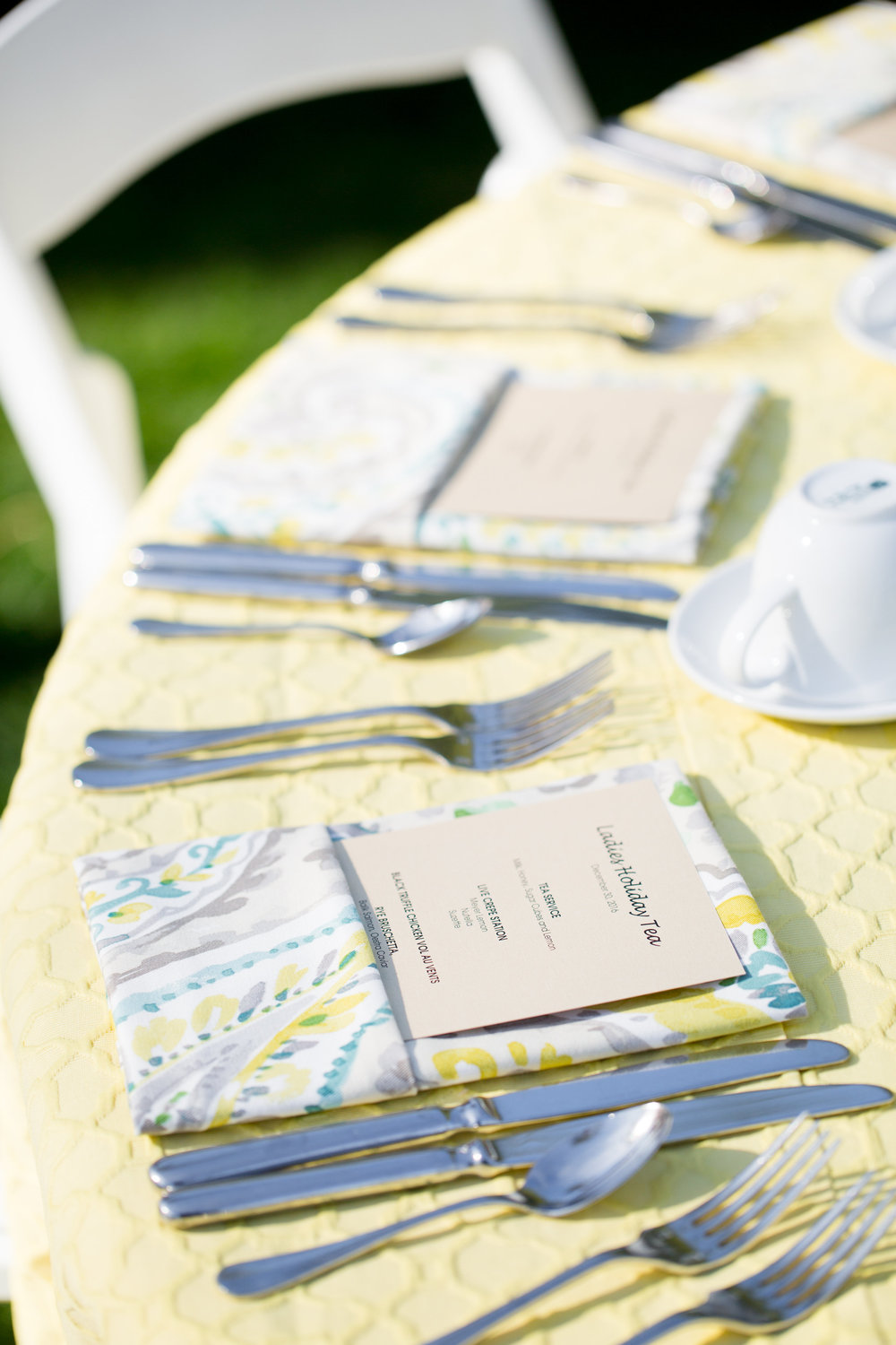 Ladies tea, wedding shower, bridal shower, pattern linens, yellow and blue bridal shower