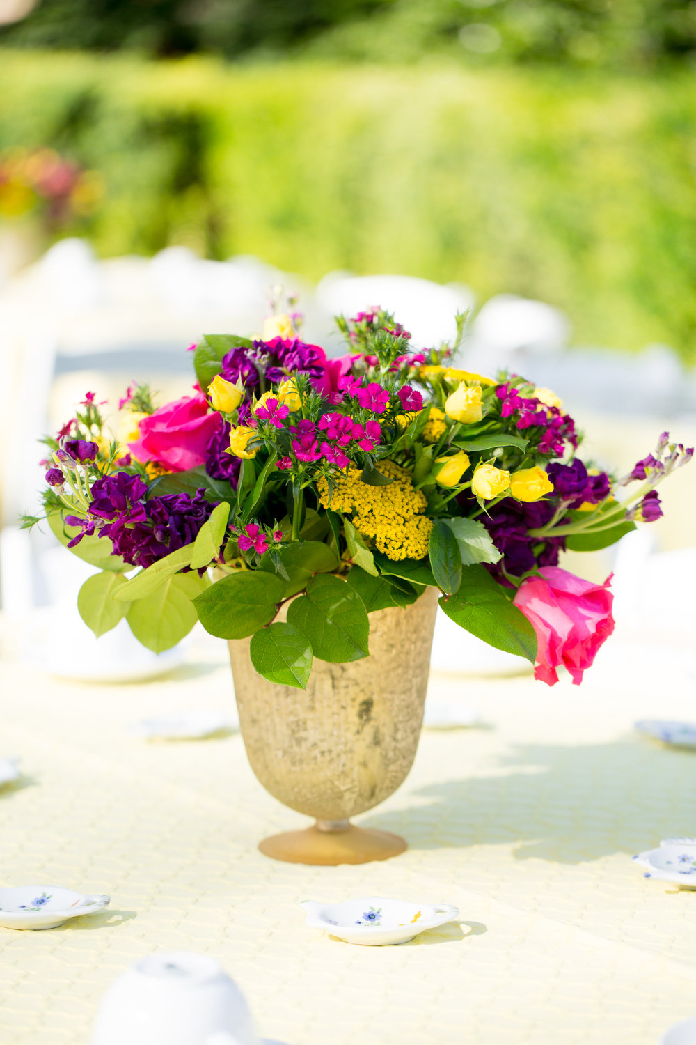 Bridal shower, ladies tea, wedding shower, bright flower centerpieces