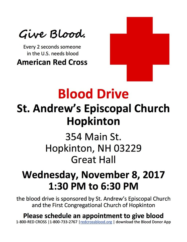 Blood Drive Coming To St Andrews St Andrews Episcopal Church