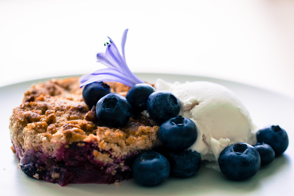Blueberry Pear Tigernut Crumble with Honey Coconut Ice Cream