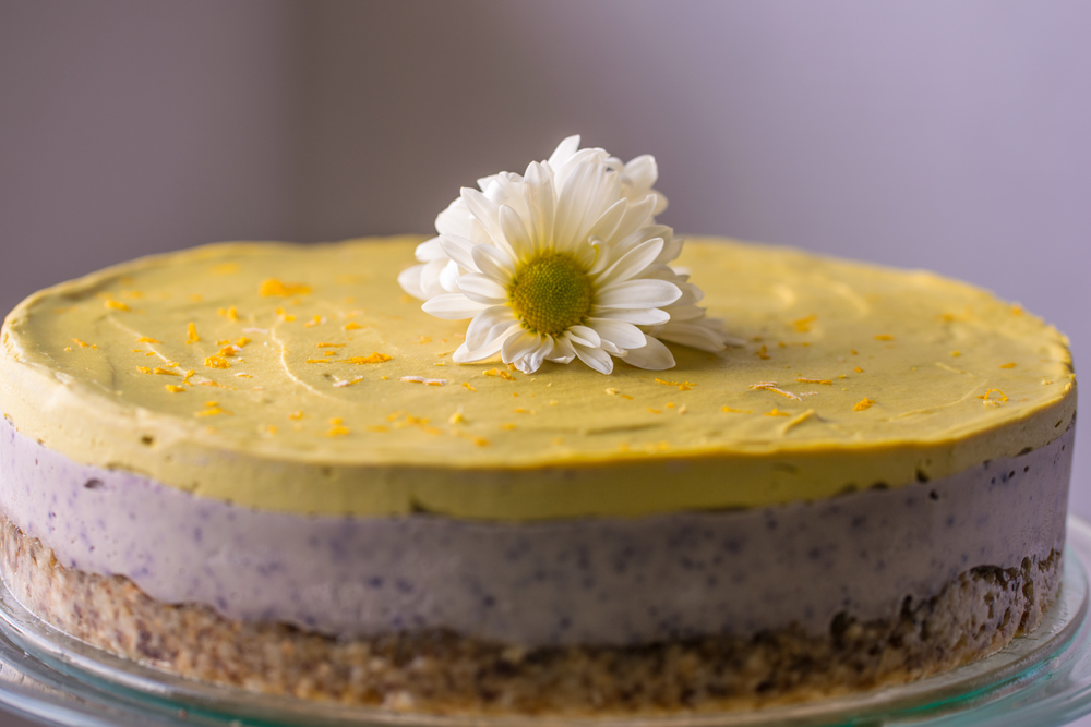 Mango Blueberry Cashew Cheesecake with Macadamia Date Crust