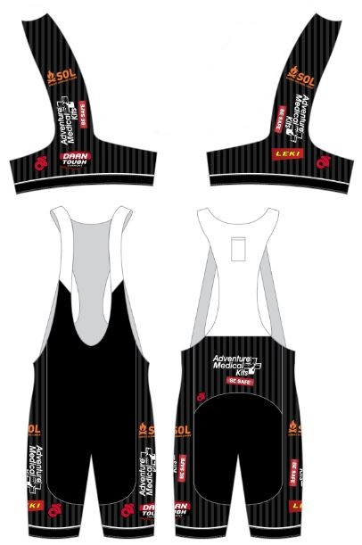 Bib Shorts (full wrap panel, long length,  M's and W's sizing ) $64.  Click on image for more details including a size chart.