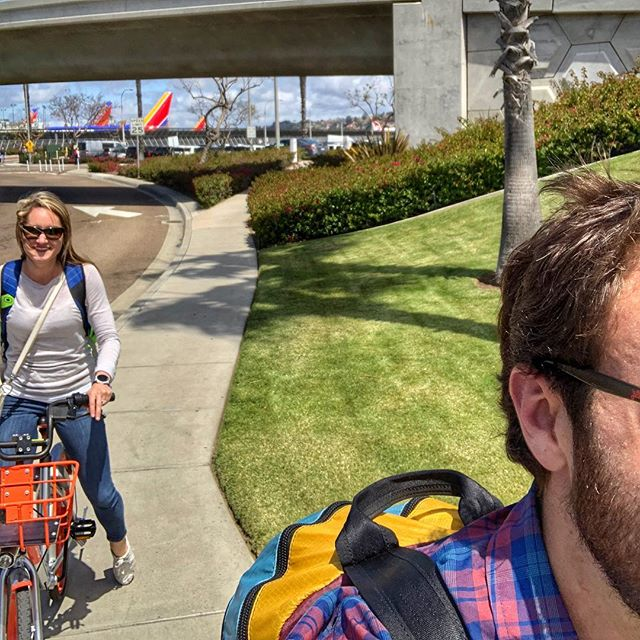Who needs Uber when there are rental bikes at the airport and the hotel is only a few miles away. Thankfully we packed light! #sandiego #weekendgetaway