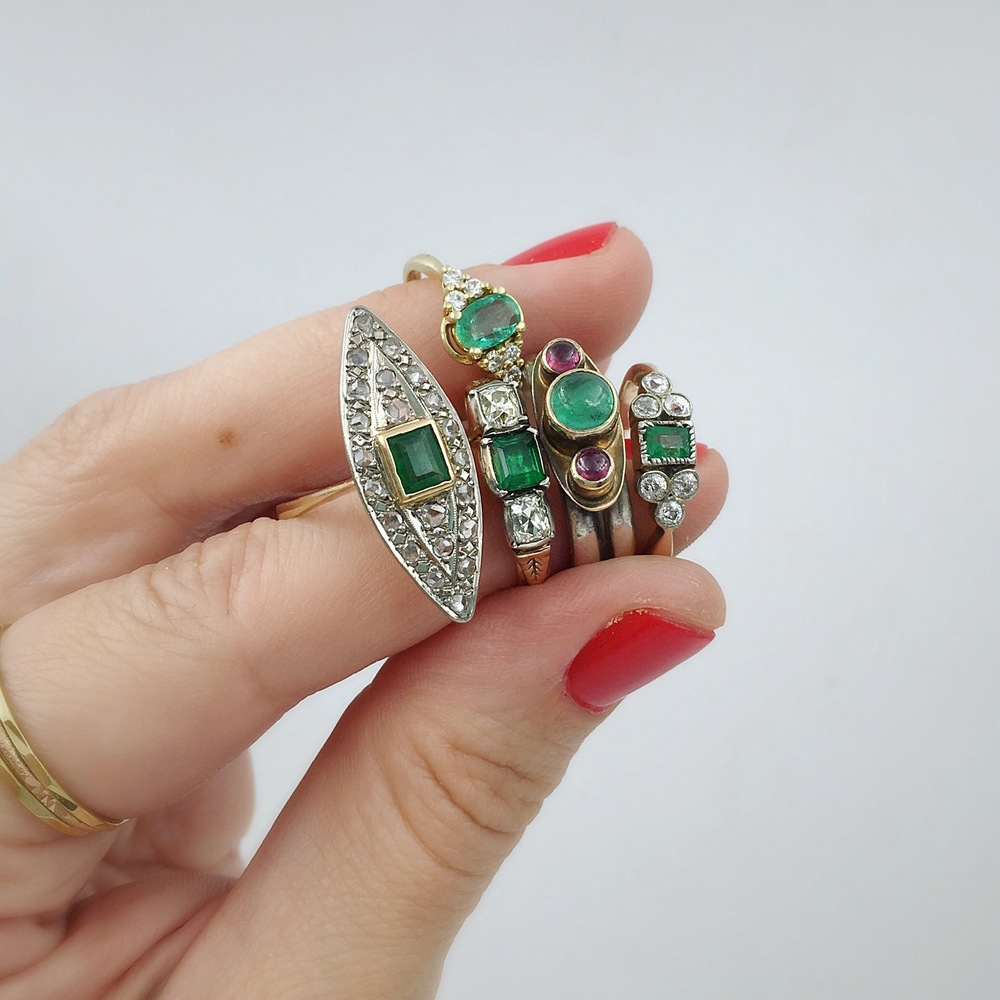 antique emerald rings, reverie vintage jewelry nyc, estate jewelry nyc, antique jewelry nyc