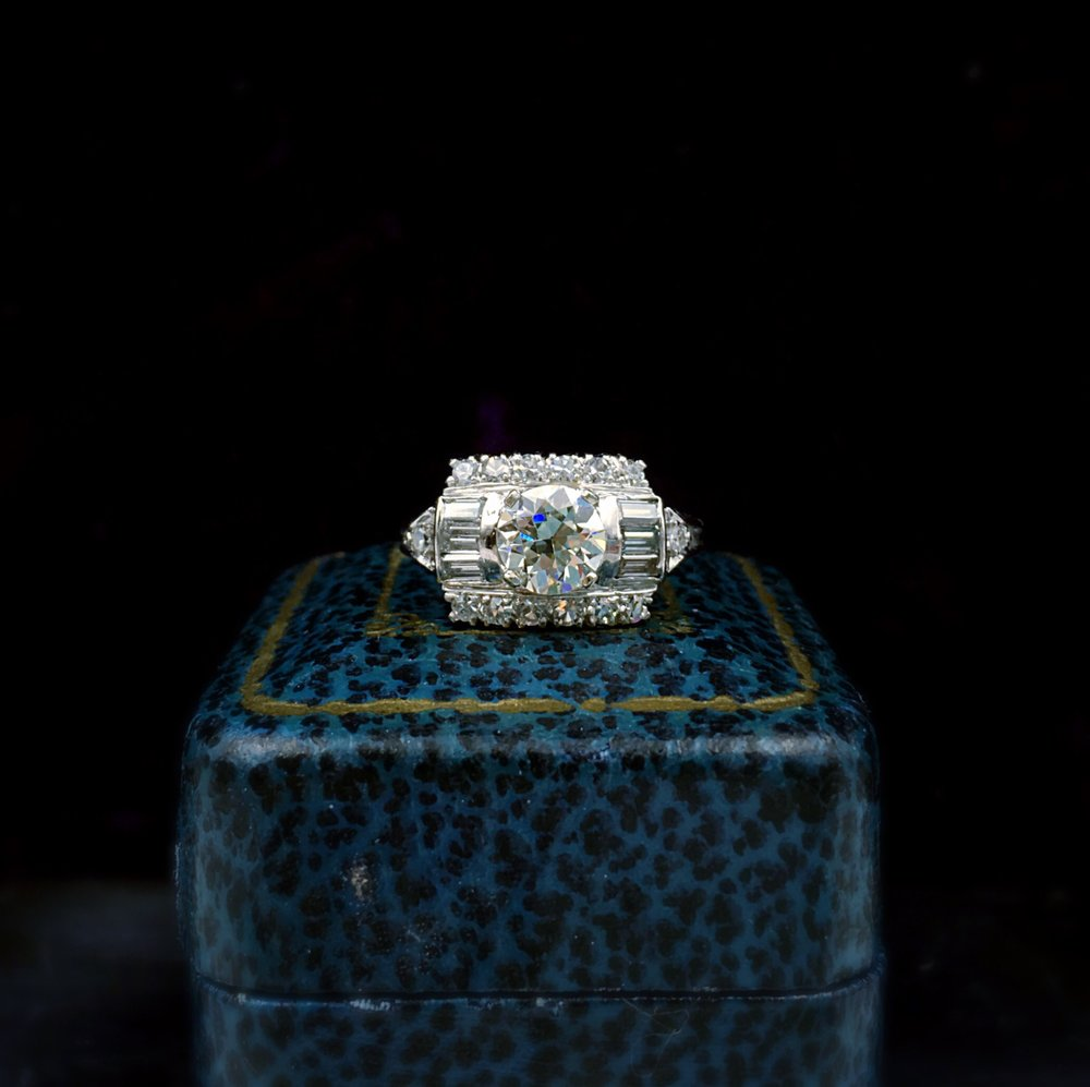 retro diamond engagement ring, reverie estate jewelry nyc