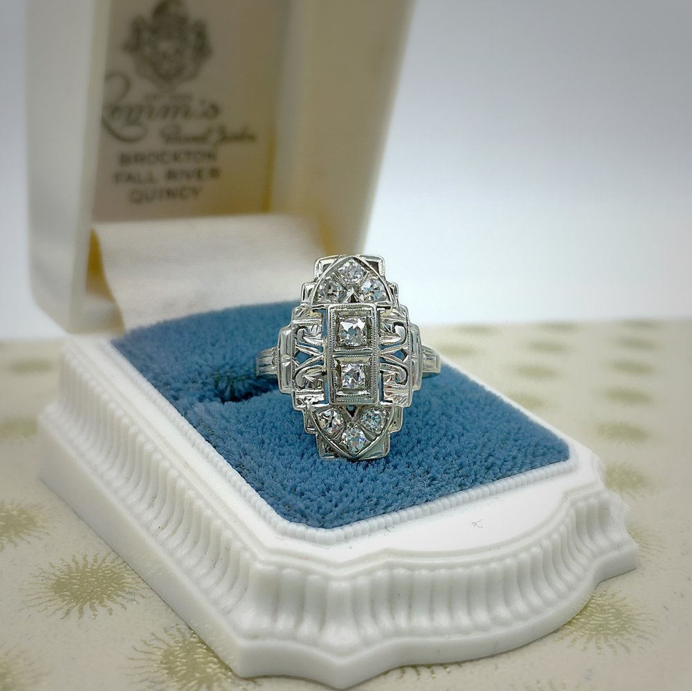 art deco dinner ring, reverie estate diamond jewelry nyc