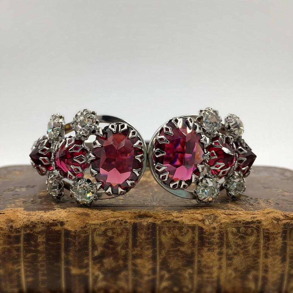 mid century jewel encrusted rhinestone bracelet, reverie vintage costume jewelry nyc
