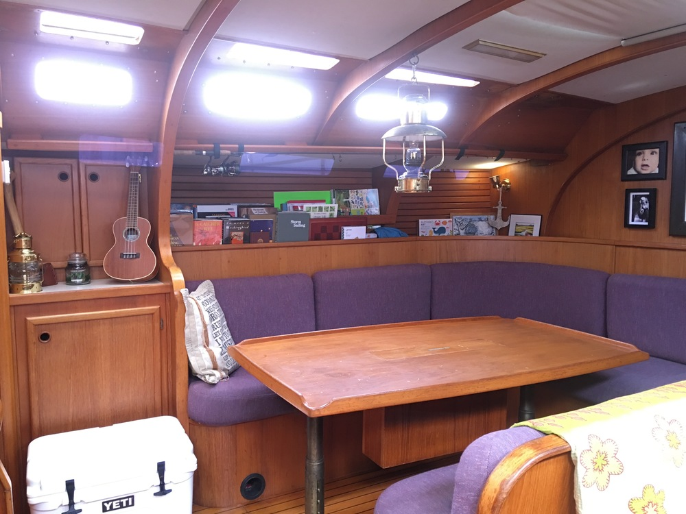 Salon. Ample room for projects and entertaining. We're usually the go-to boat for impromptu cruising potlucks, and the kids separate cabins make late night get togethers a lot more practical.