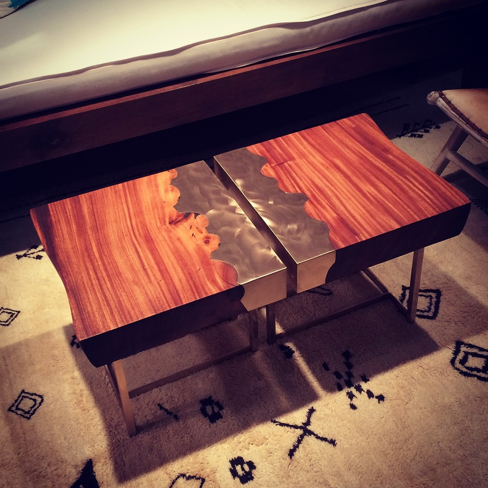 Custom Suar wood convertible coffee/side tables with bronze inlay