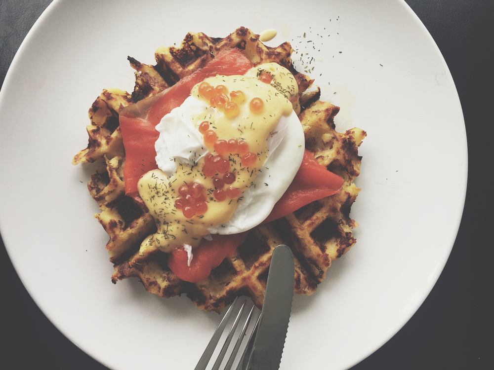 An experiment from earlier this year gone horribly wrong. It looks tasty, right? Read the story below about our attempt at a 'Lox-Latka Waffle' that didn't turn out as we expected. It's #ThrowbackThursday, after all...