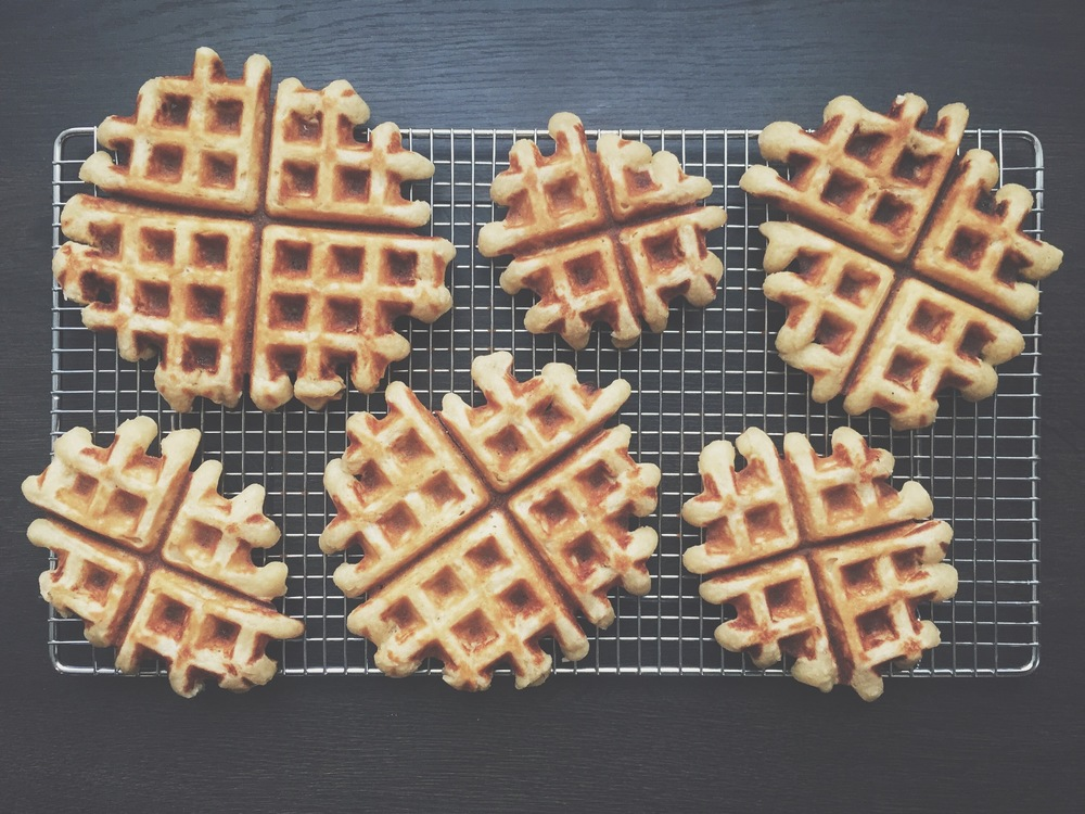 Keeping 'em crisp. We let our waffles rest on a baking rack to make sure condensation doesn't accumulate beneath and make them soggy.