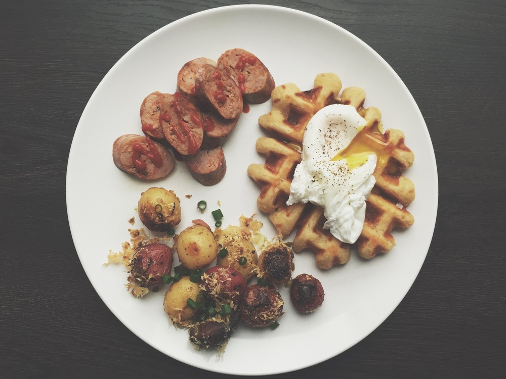 Our simple brunch. A pearl sugar buttermilk waffle, with blistered lemon-browned butter vinaigrette potatoes, and spicy chorizo.