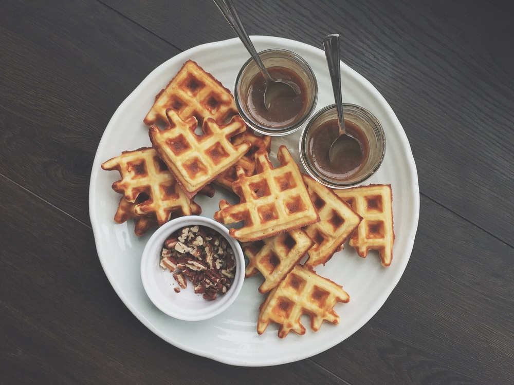 Classic scratch waffle, pictured with bourbon-caramel and pecans.