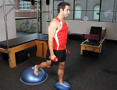 Balancing on stable followed by unstable surfaces is part of rehab for the lower extremity.