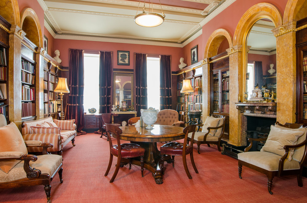 The library at 19, Lansdown Crescent, Bath, former home of William Beckford; contents valued & sold at auction by Aldridges of Bath
