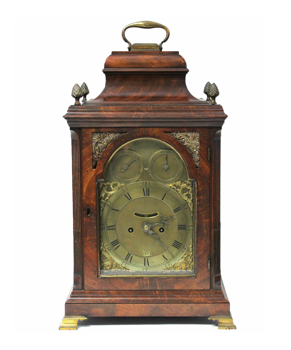 Sold For £4,000  An 18thC. figured mahogany table clock by John Jervis, St James Street.