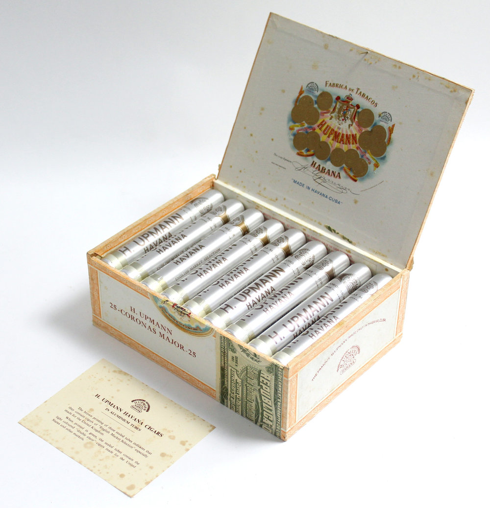 "Sold For £460 A box of twenty-five H. Upmann ""Corona Major"" Cuban cigars."