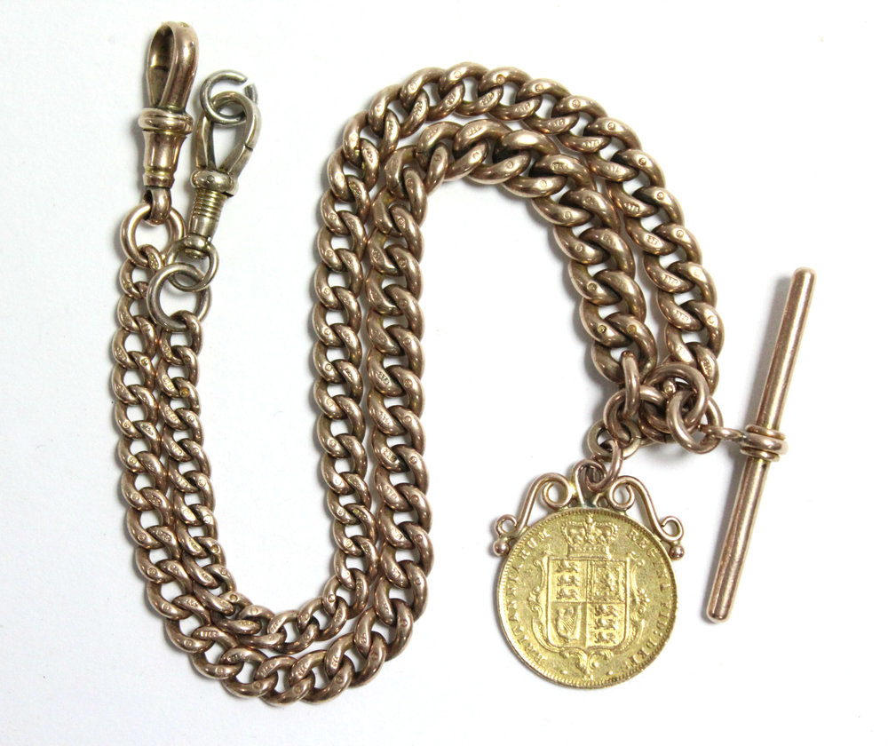 Sold For £430. A 9ct. gold albert of curb links, with bar, pendant 1876 half-sovereign.