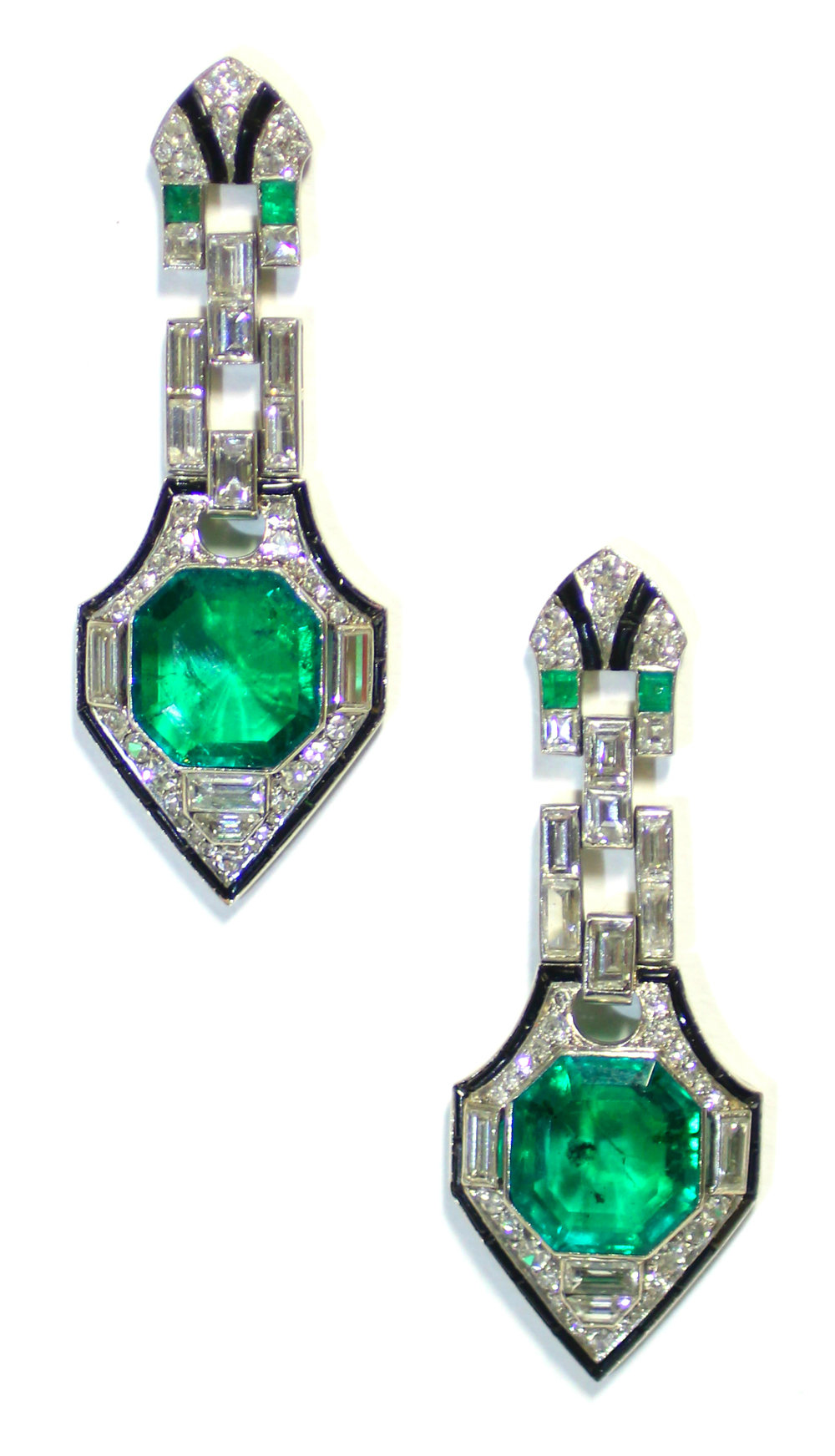 Sold For £48,000  A pair of Art Deco Emerald, Diamond & Black Onyx earrings