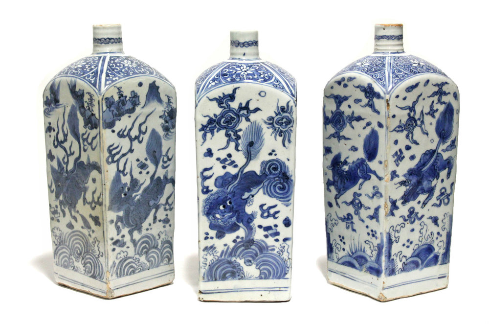 Sold For £3,900  Chinese porcelain square-section bottle vases with underglaze decoration