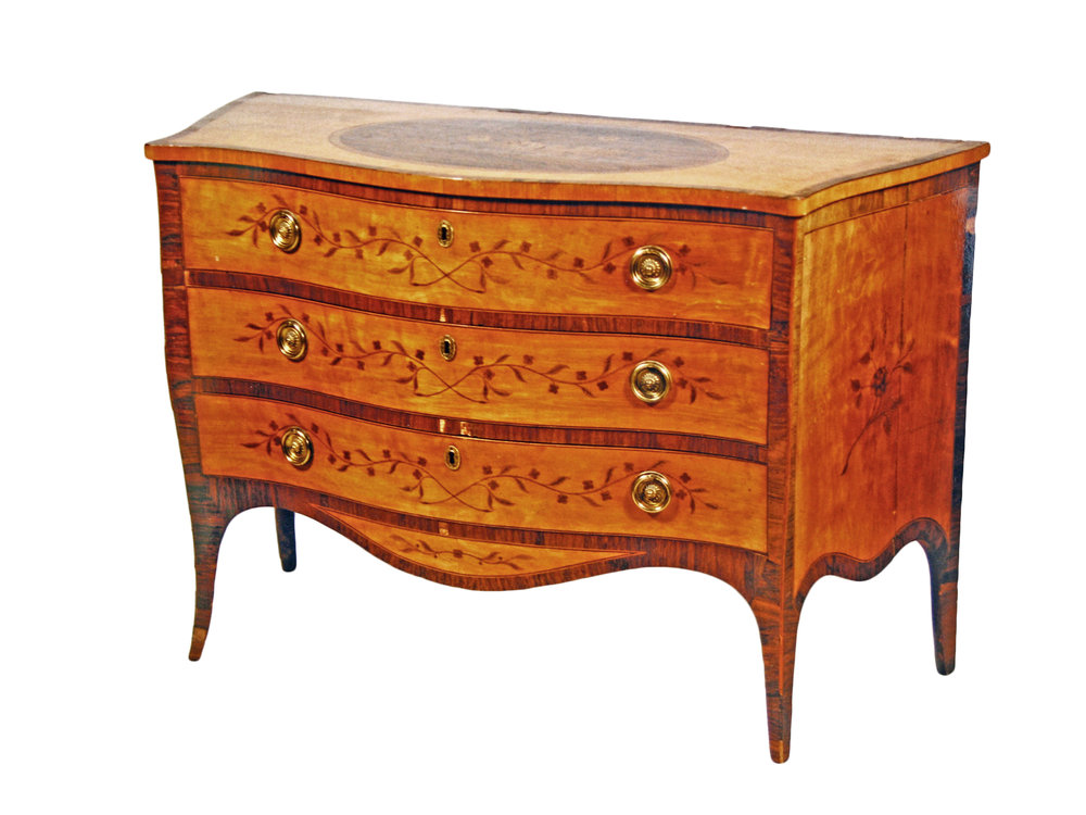 Sold For £36,000  A fine Geo. III satinwood commode with marquetry decoration