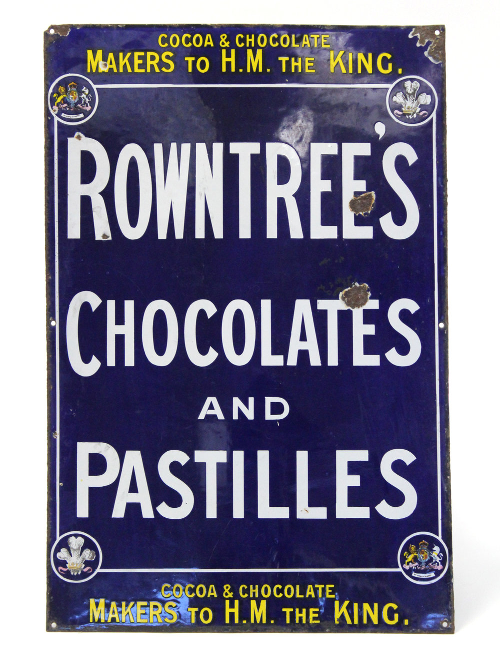 Sold For £250 Early 20thC enamelled Rowntree's advertising sign