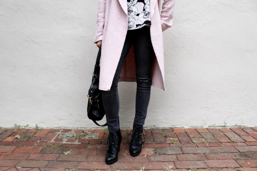 PINK BOUCLE COAT: TAHARI VIA TJ MAXX [SIMILAR] / FLORAL TANK:  [SIMILAR]  / PEARL CHOKER: VINTAGE (MY MOM'S)  [SIMILAR]  / RIPPED JEANS:  GAP [SIMILAR]  / LACE UP BOOTIES: POUR LA VICTOIRE  [SIMILAR]  / LEATHER BAG: ALFANI  [SIMILAR]  / BLACK SUNGLASSES:  FOREVER 21