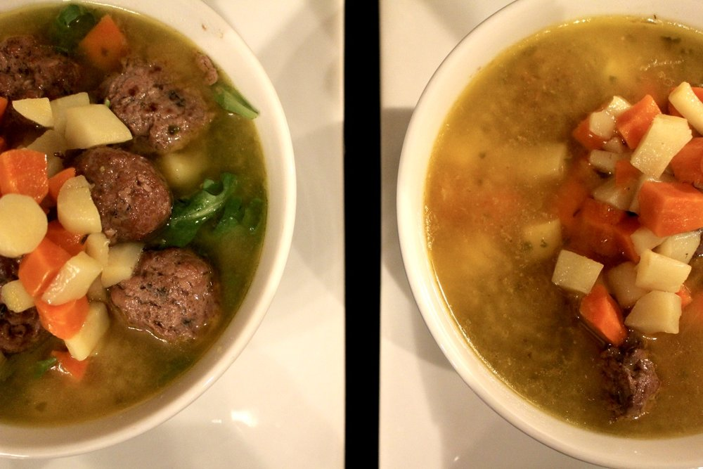MEATBALL SOUP / paleo / pastured beef bone broth / family dinner / easy dinner